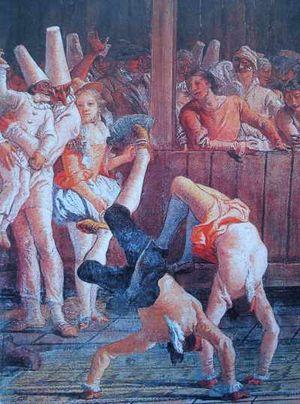 акробаты на Венецианском карнавале